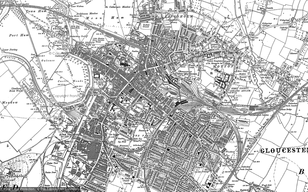 Old Map of Historic Map covering Wotton in 1883
