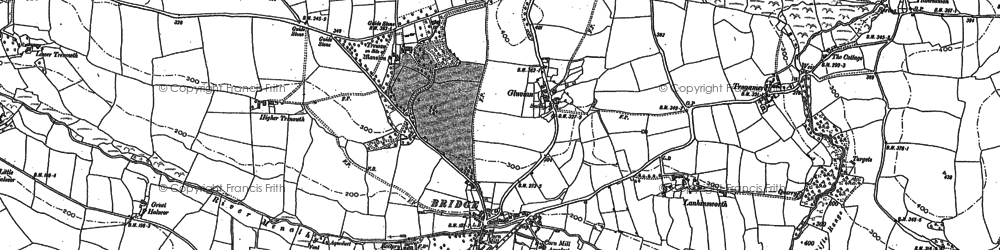 Old map of Gluvian in 1880