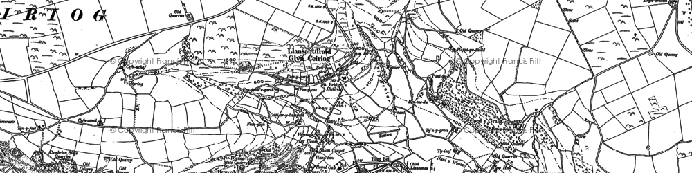 Old map of Glyn Ceiriog in 1909