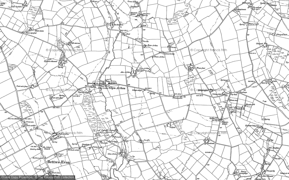 Old Map of Historic Map covering Allt y corde in 1887