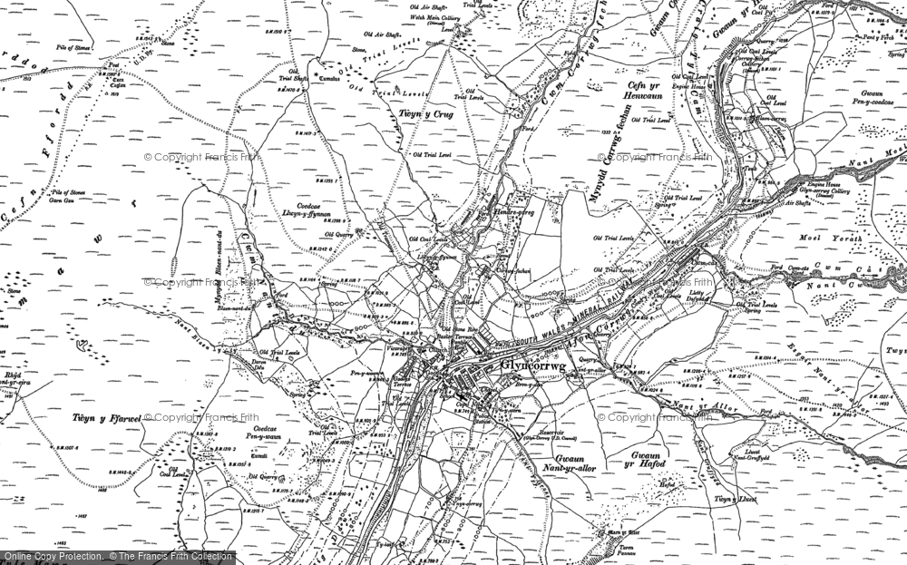 Old Map of Historic Map covering Afon Corrwg Fechan in 1897