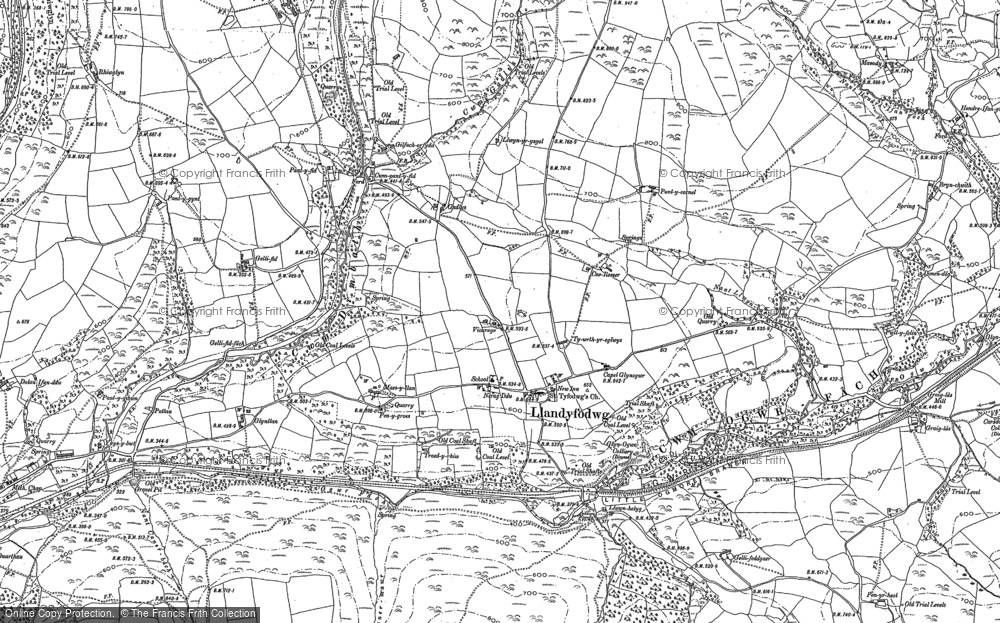 Old Map of Glynogwr, 1897 in 1897