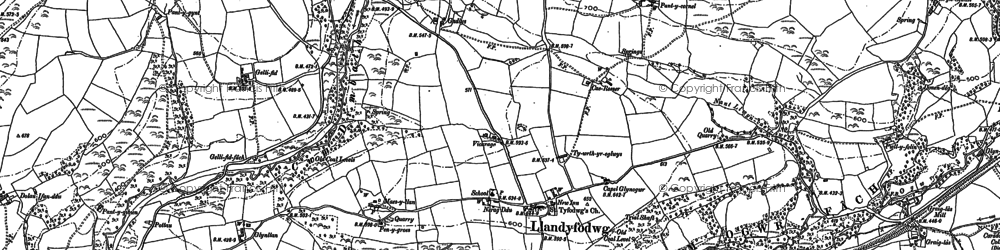 Old map of Glynogwr in 1897