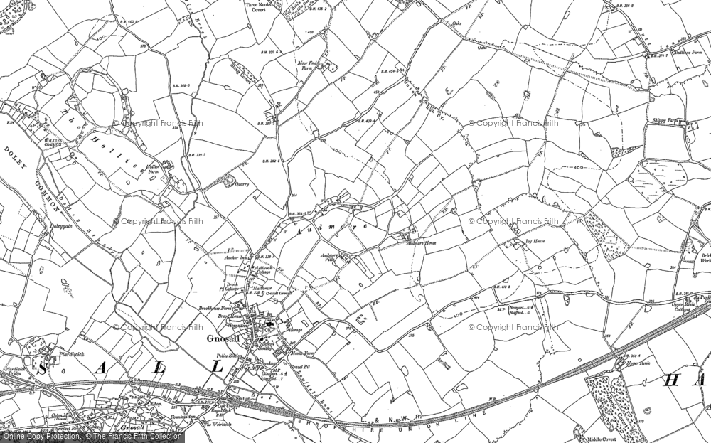 Old Map of Historic Map covering Audmore in 1880