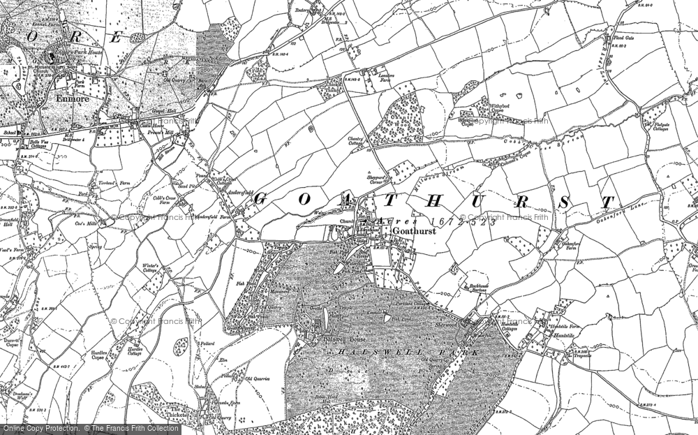 Old Map of Historic Map covering Bare Ash in 1886