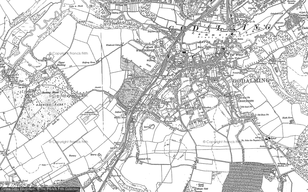 Old Map of Historic Map covering Aaron's Hill in 1895