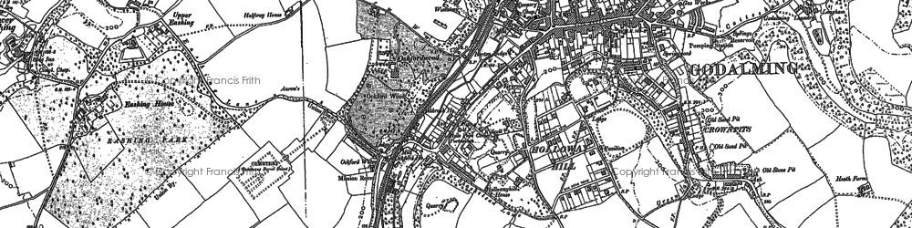 Old map of Godalming in 1895