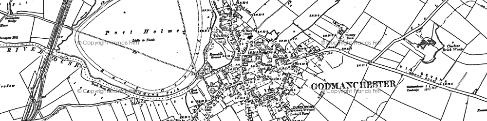 Old map of Godmanchester in 1885