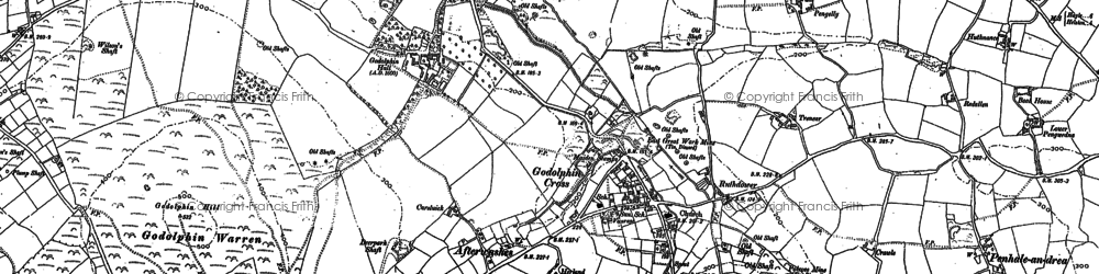 Old map of Godolphin Cross in 1877