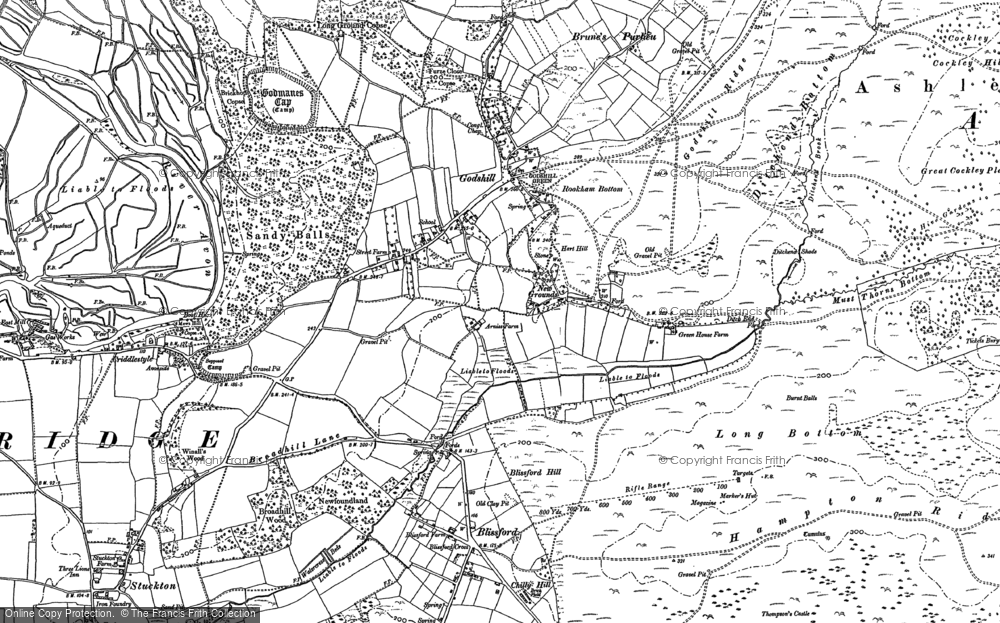 Old Map of Historic Map covering Amberwood Inclosure in 1895