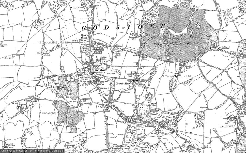 Old Map of Godstone, 1895 in 1895
