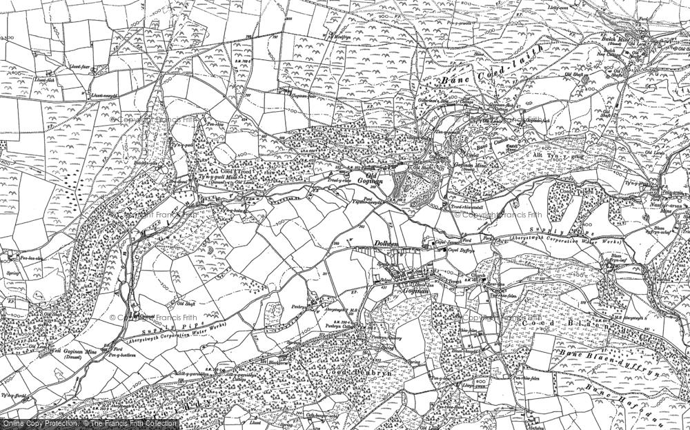 Old Map of Historic Map covering Allt y Gwreiddyn in 1886