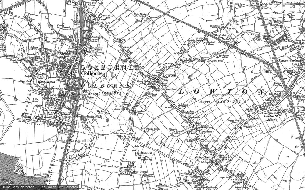 Old Map of Historic Map covering Lightshaw Hall in 1891