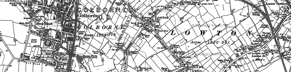 Old map of Golborne in 1891