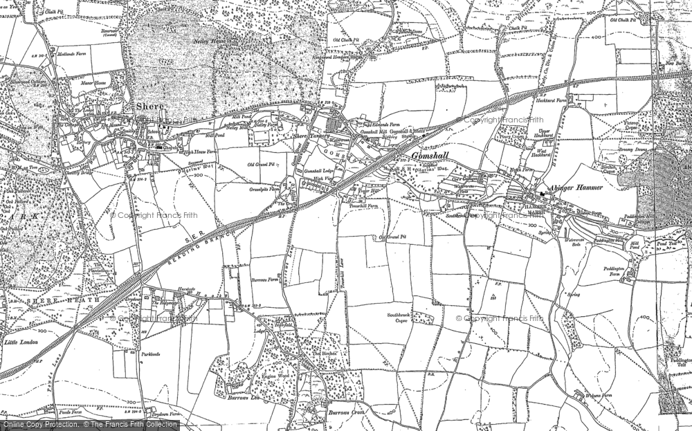 Old Map of Historic Map covering Burrows Cross in 1895