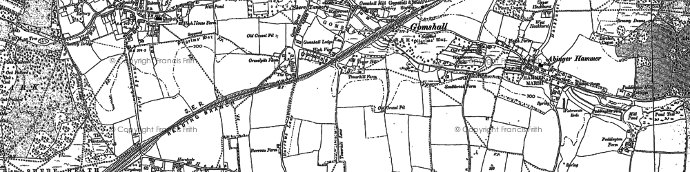 Old map of Gomshall in 1895