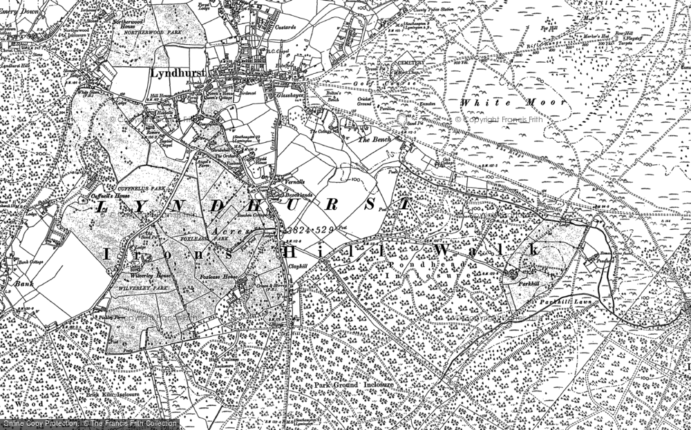 Old Map of Historic Map covering Ashurst Lodge in 1896