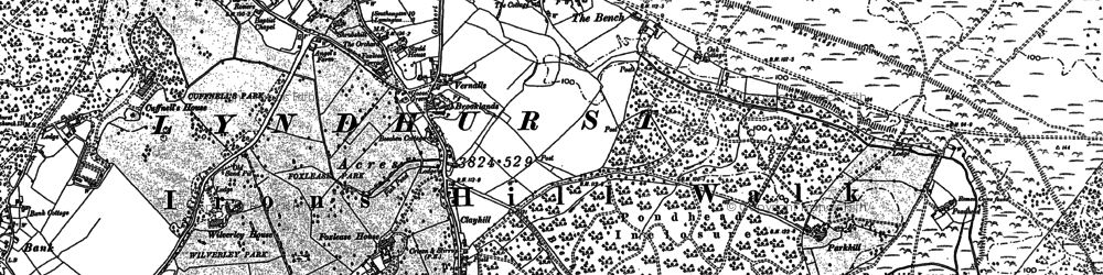 Old map of Ashurst Lodge in 1896