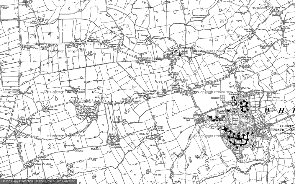 Old Map of Historic Map covering White Moss Gate in 1892