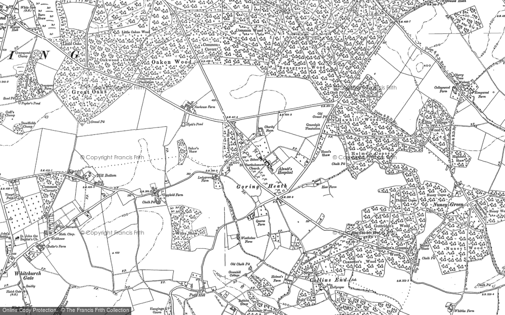 Old Map of Historic Map covering Almhouses, The in 1897