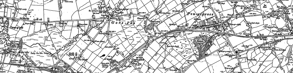 Old map of Castell-y-rhingyll in 1888