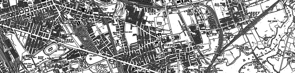 Old map of Gorton in 1890