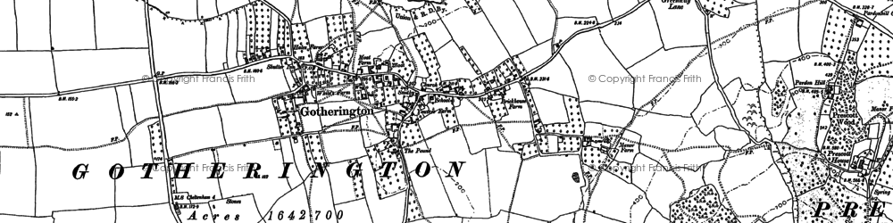 Old map of Woolstone in 1883