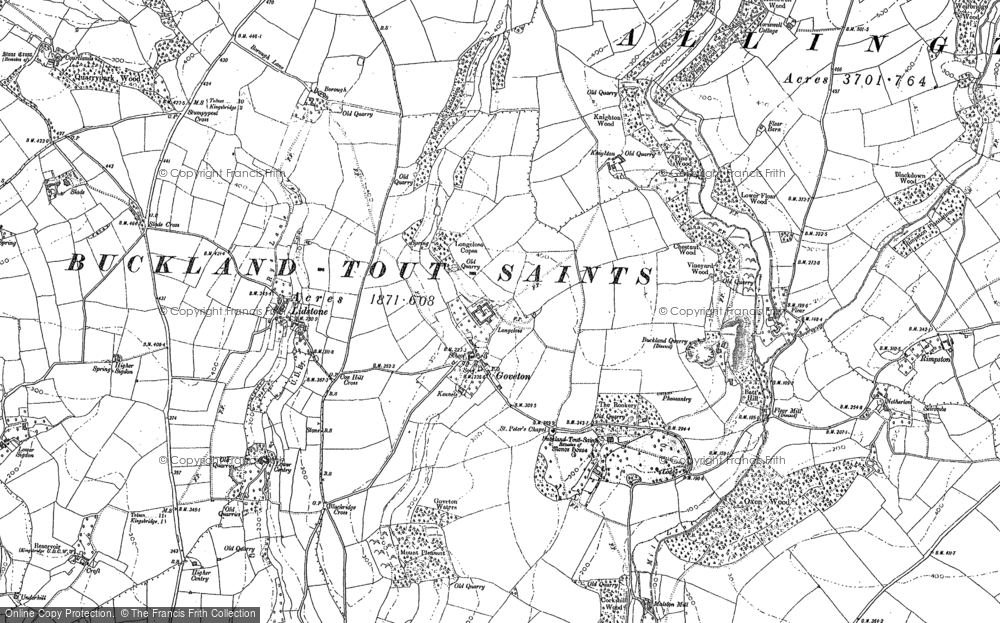Old Map of Goveton, 1884 in 1884