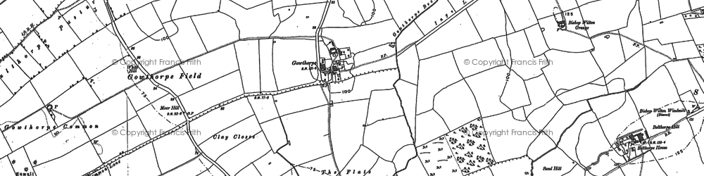 Old map of Youlthorpe Pasture Hill in 1890