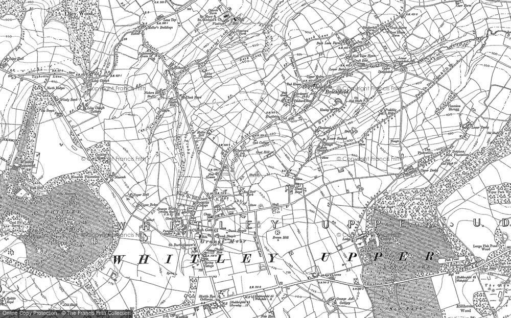 Old Map of Historic Map covering Lepton Edge in 1888