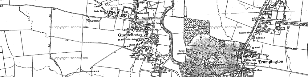 Old map of Grantchester in 1885