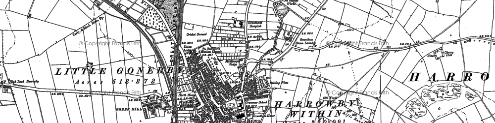 Old map of Grantham in 1885