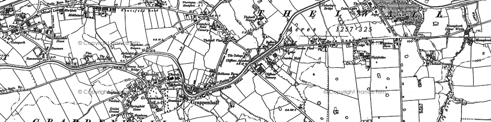 Old map of Grappenhall in 1905