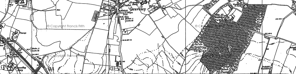 Old map of Graveley in 1896