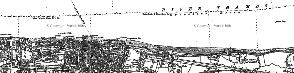 Old map of Gravesend in 1895