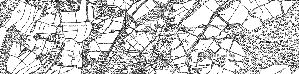 Old map of Weydown Common in 1913