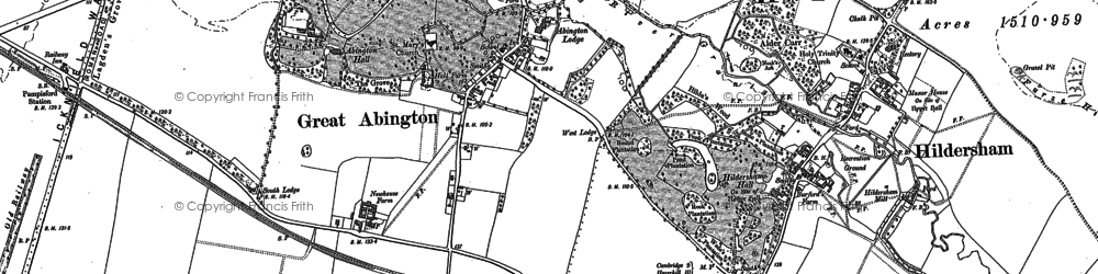 Old map of Great Abington in 1885