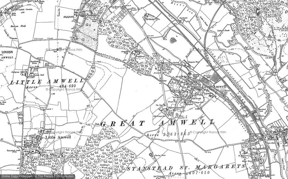 Old Map of Great Amwell, 1897 - 1919 in 1897
