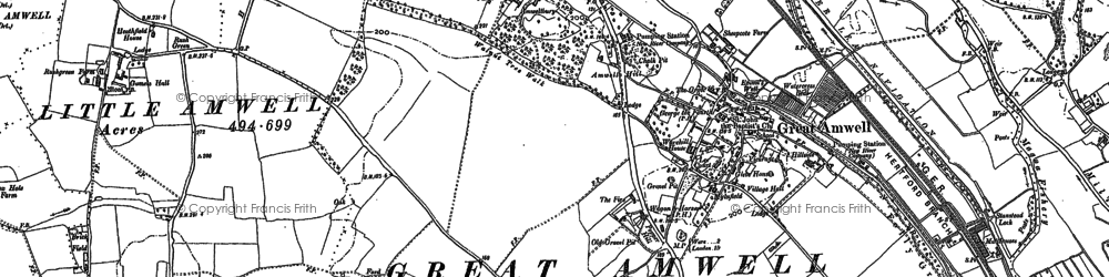 Old map of Great Amwell in 1897