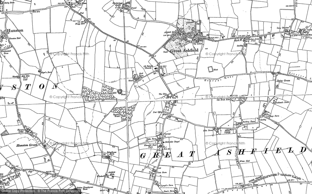 Old Map of Historic Map covering Ashfield Haugh in 1883