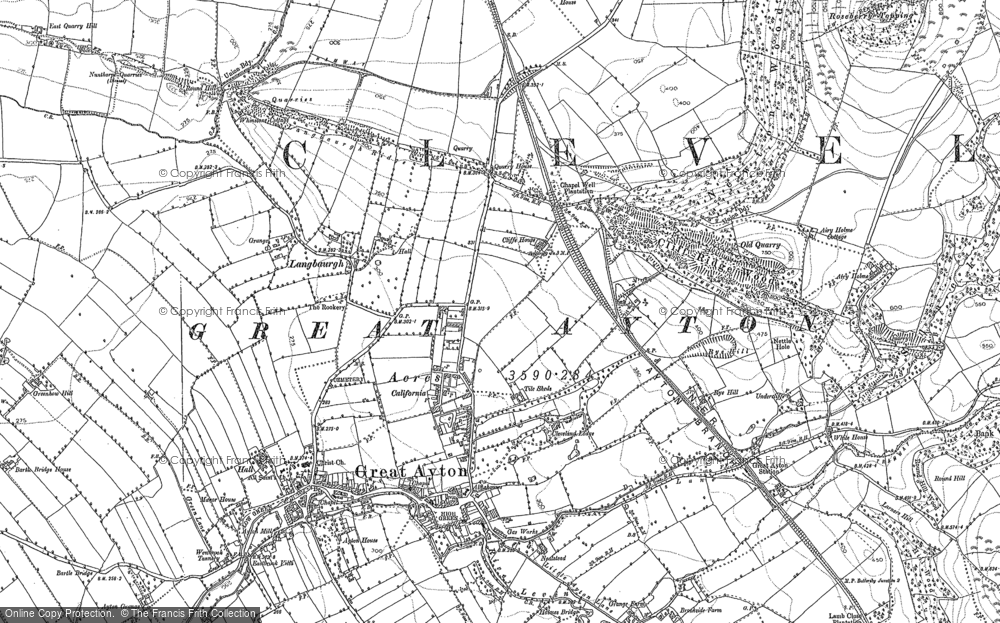 Old Map of Historic Map covering Greenhow Hill in 1892