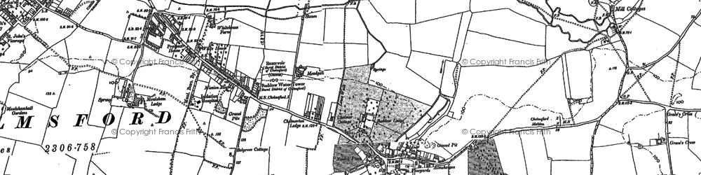 Old map of Great Baddow in 1895
