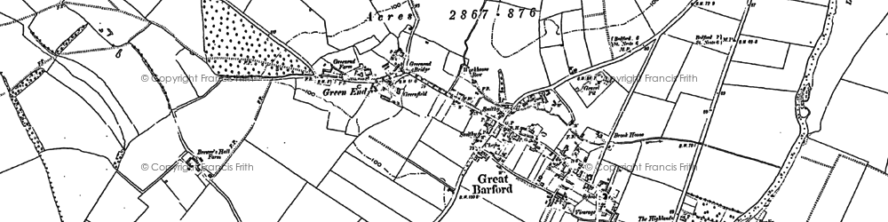 Old map of Great Barford in 1882
