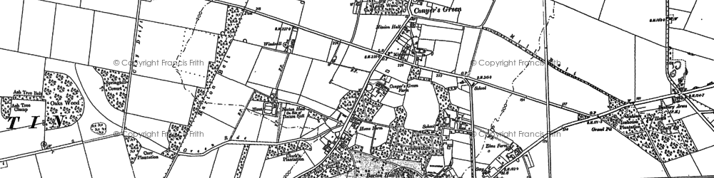 Old map of Great Barton in 1883