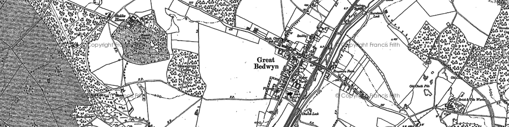 Old map of Great Bedwyn in 1899