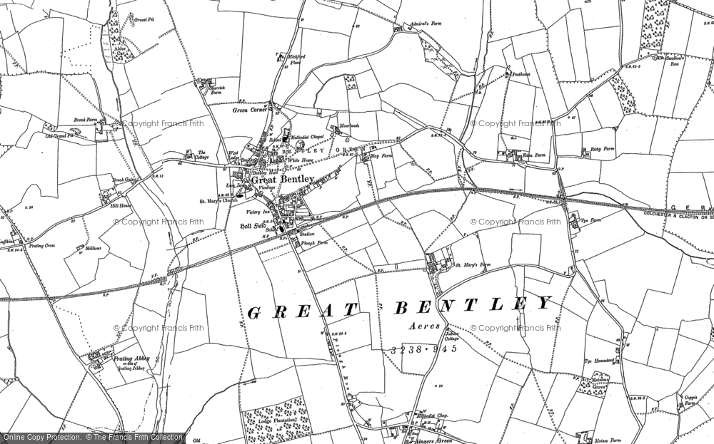 Old Map of Historic Map covering Aingers Green in 1896