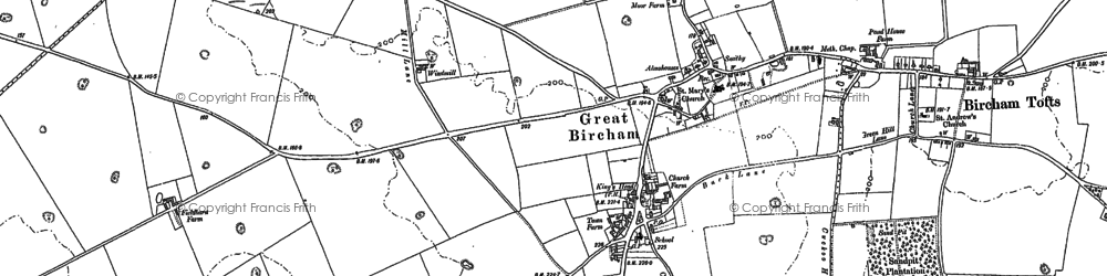 Old map of Great Bircham in 1885