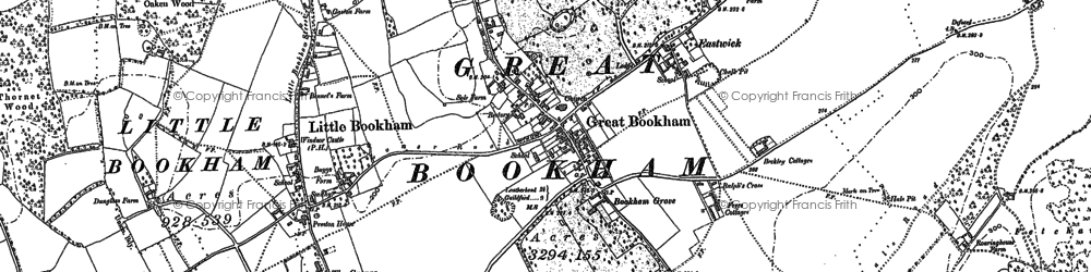Old map of Great Bookham in 1894