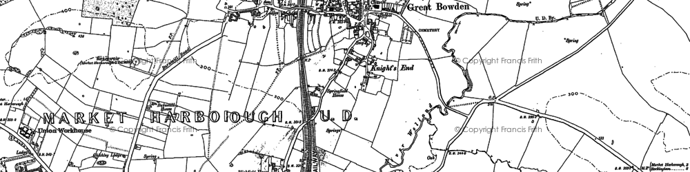 Old map of Great Bowden in 1899