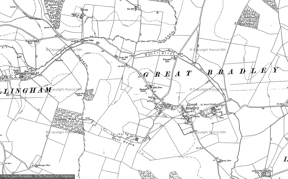Old Map of Historic Map covering Widgham Green in 1901